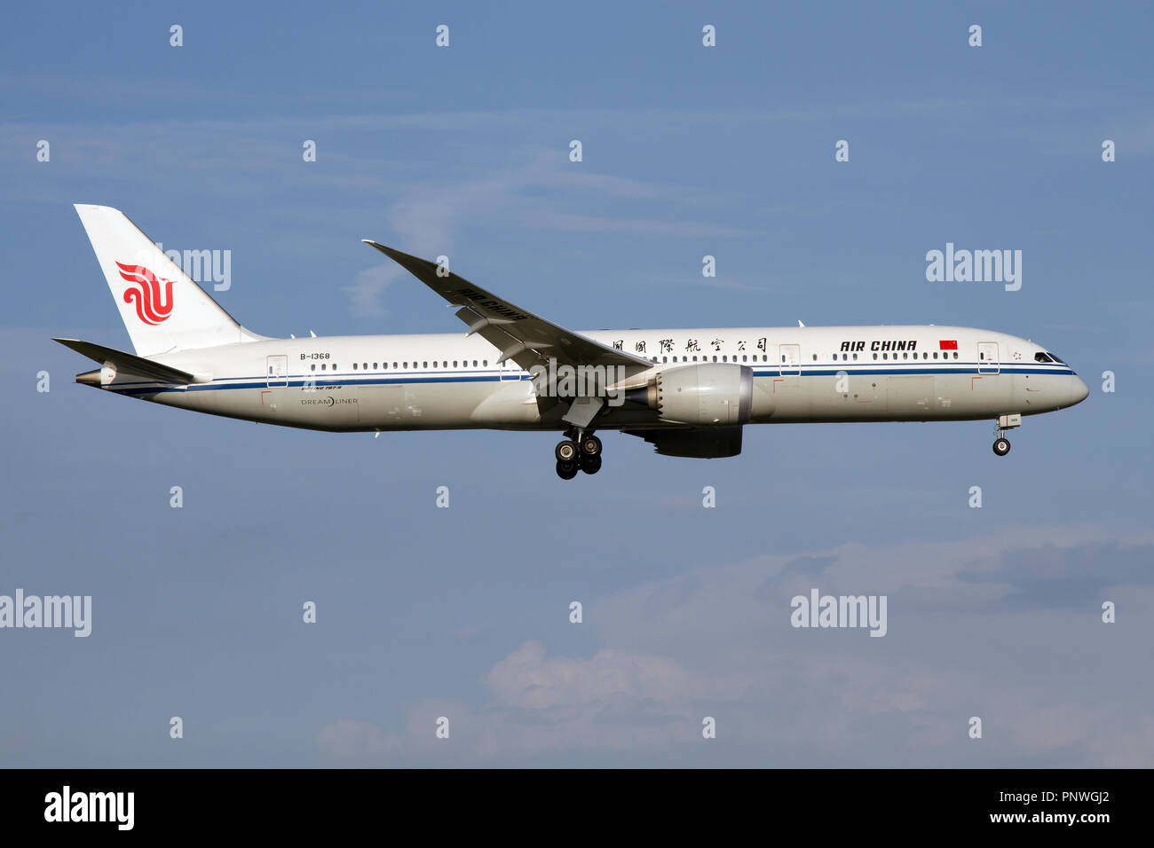 Air China Boeing 787-9 Dreamliner landing at Rome Fiumicino airport - Stock Image