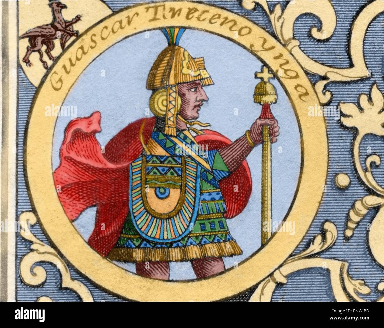 Huascar Inca (h.1491-1532).  Sapa Inca of the Inca empire from 1527 to 1532. Son of Huayna Capac. Colored engraving. 1726. - Stock Image