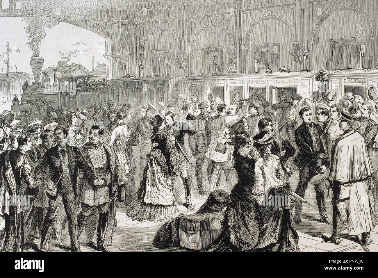Russo-Turkish War (1877-1878). St. Petersburg. Departure of Russian  officers to Serbia as volunteers in the army of General Tchernaieff.