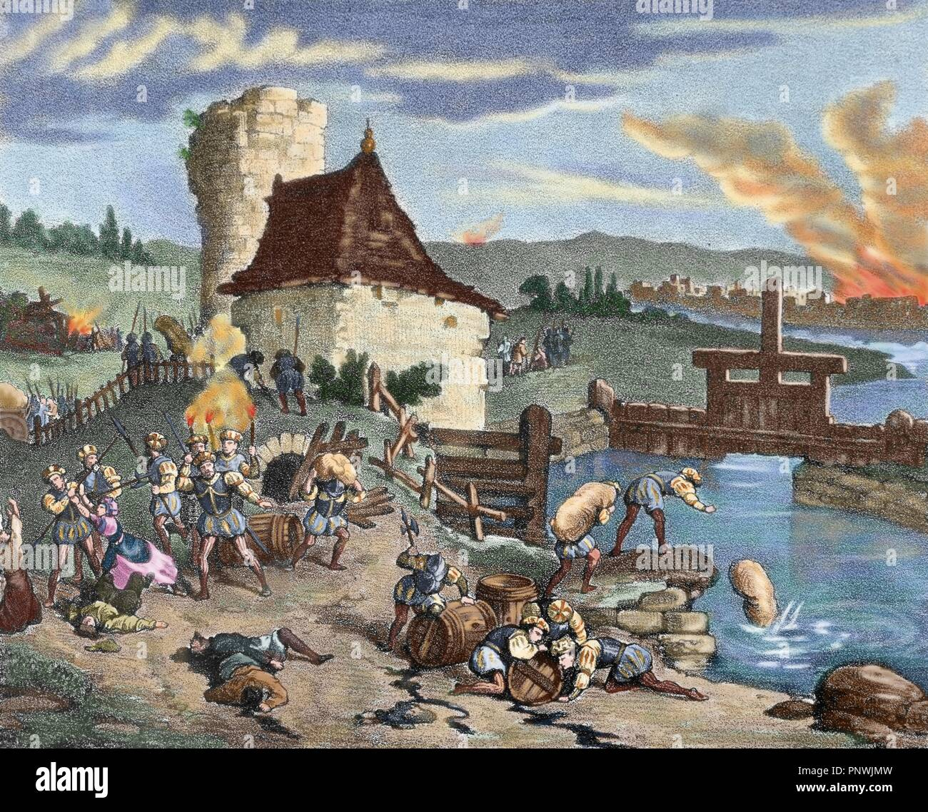Fires and looting by the German reformer, Thomas Muntzer (1491-1525) and  his people during the rebellion. Colored engraving. 19th century.