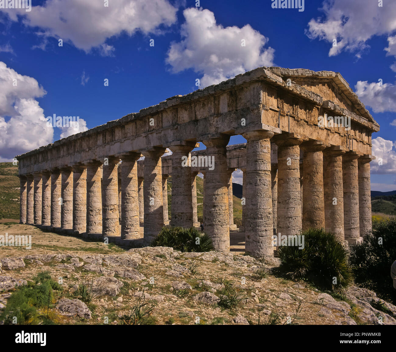 Greek temple of Segesta - 5th century BC. Sicily. Italy. Europe - Stock Image