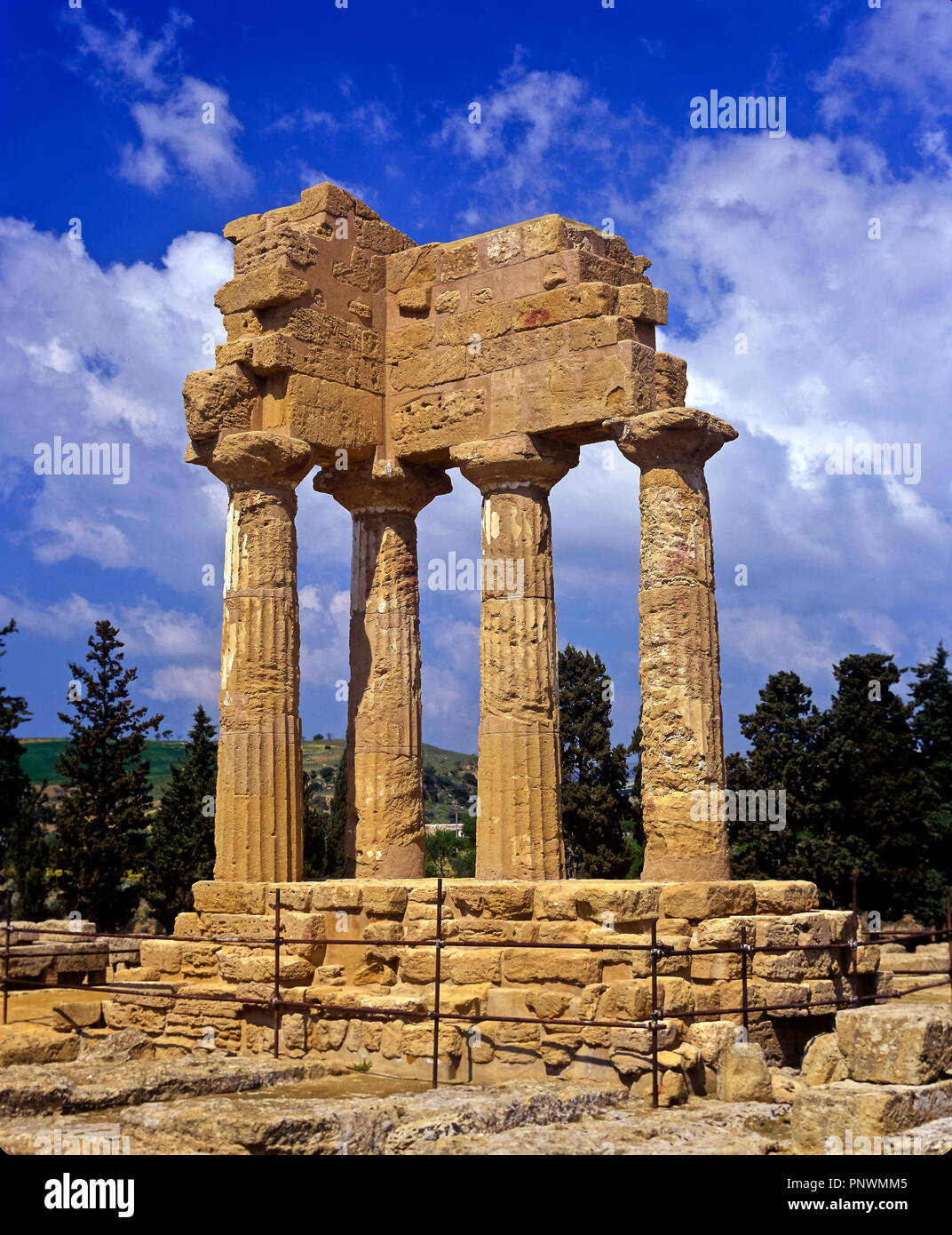 Greek temple of the Dioscuri (or Castor and Pollux) - 5th century BC. Valley of the temples. Agrigento. Sicily. Italy. Europe - Stock Image