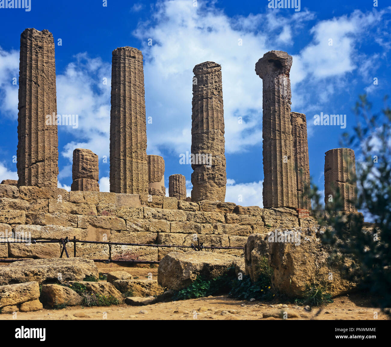 Greek Temple of Hera Lacinia (orJuno) - 5th century BC. Valley of the temples. Agrigento. Sicily. Italy. Europe - Stock Image
