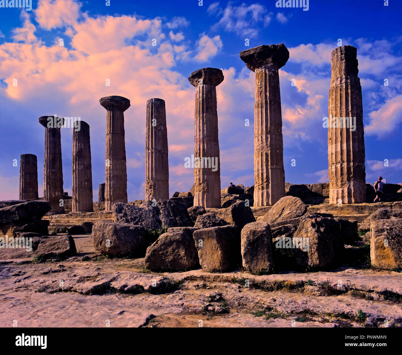 Temple of Heracles - 5th century BC. Valley of the temples. Agrigento. Sicily. Italy. Europe - Stock Image