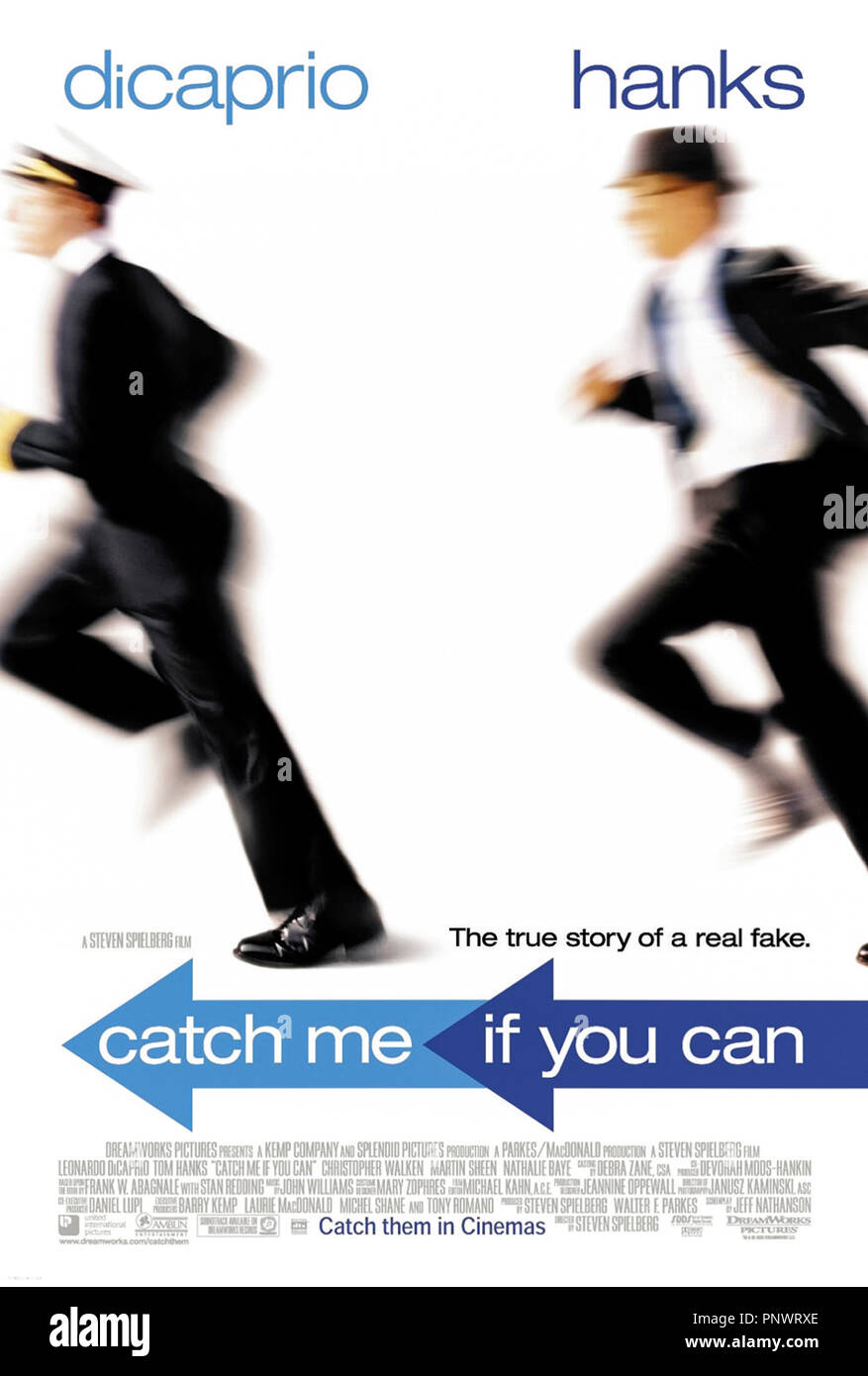 Catch Me If You Can (2002) directed by Steven Spielberg and starring Leonardo DiCaprio, Tom Hanks, Christopher Walken and Martin Sheen. The true story of Frank Abagnale Jr. a confidence trickster and fraudster and how FBI agent Carl Hanratty captured him. - Stock Image