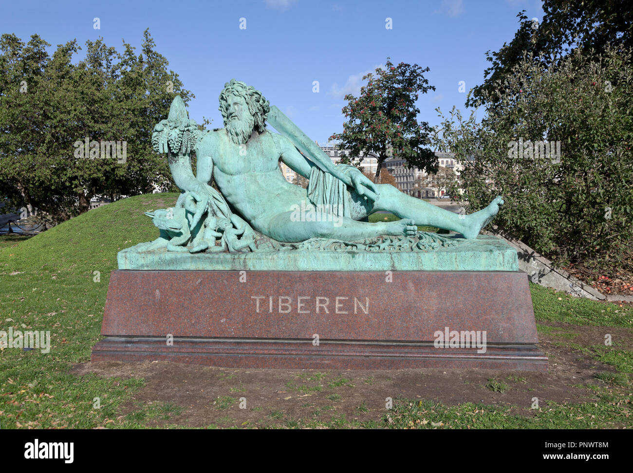 The Tiberen, the Tiber, bronze sculpture on granite named after the river Tiber in Italy at Sortedam Lake at Søtorvet in Copenhagen. See description. Stock Photo