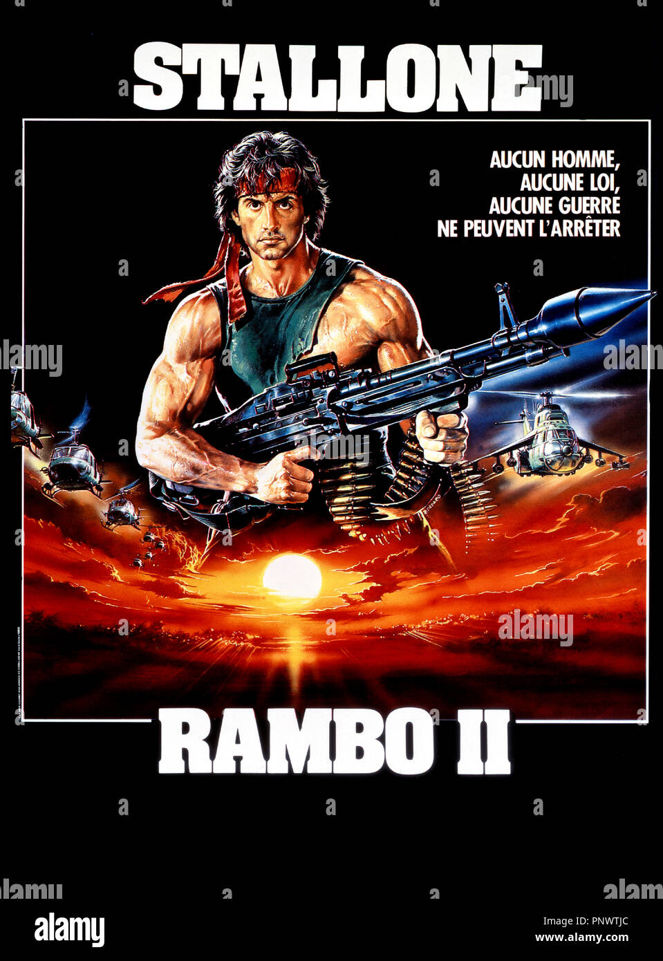 Prod DB © TriStar / DR RAMBO II (RAMBO : FIRST BLOOD PART II) de George P. Cosmatos 1985 USA avec Sylvester Stallone visuel d'affiche, sequelle - Stock Image