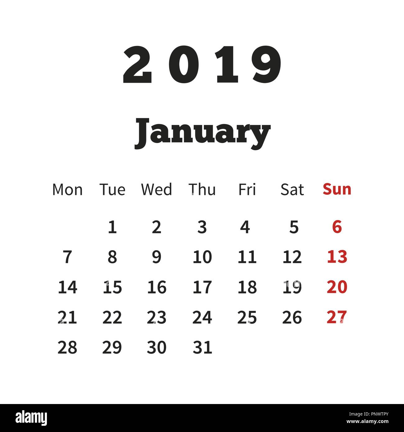 Simple Calendar On January 2019 Year With Week Starting From Monday