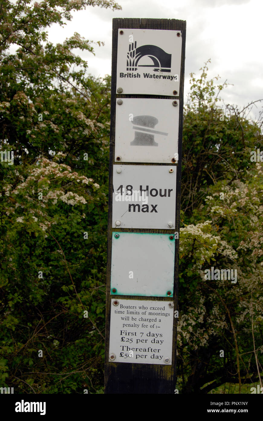 Sign by Kennet & Avon canal showing mooring time limits and penalties for overstaying - Stock Image