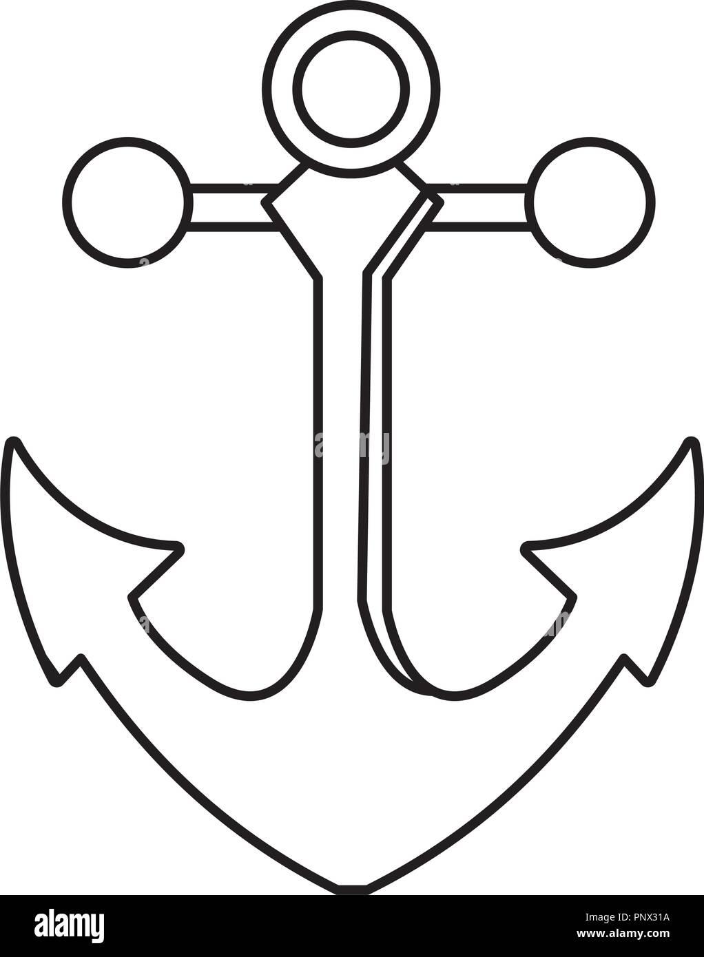 49ee93a21 outline metal anchor equipment nautical security Stock Vector Art ...