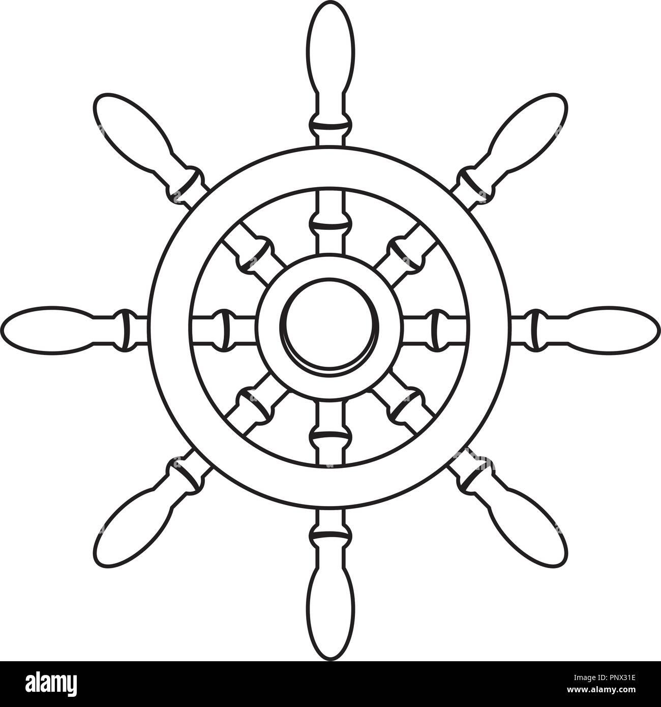 outline rudder ship object to marine navigation - Stock Image
