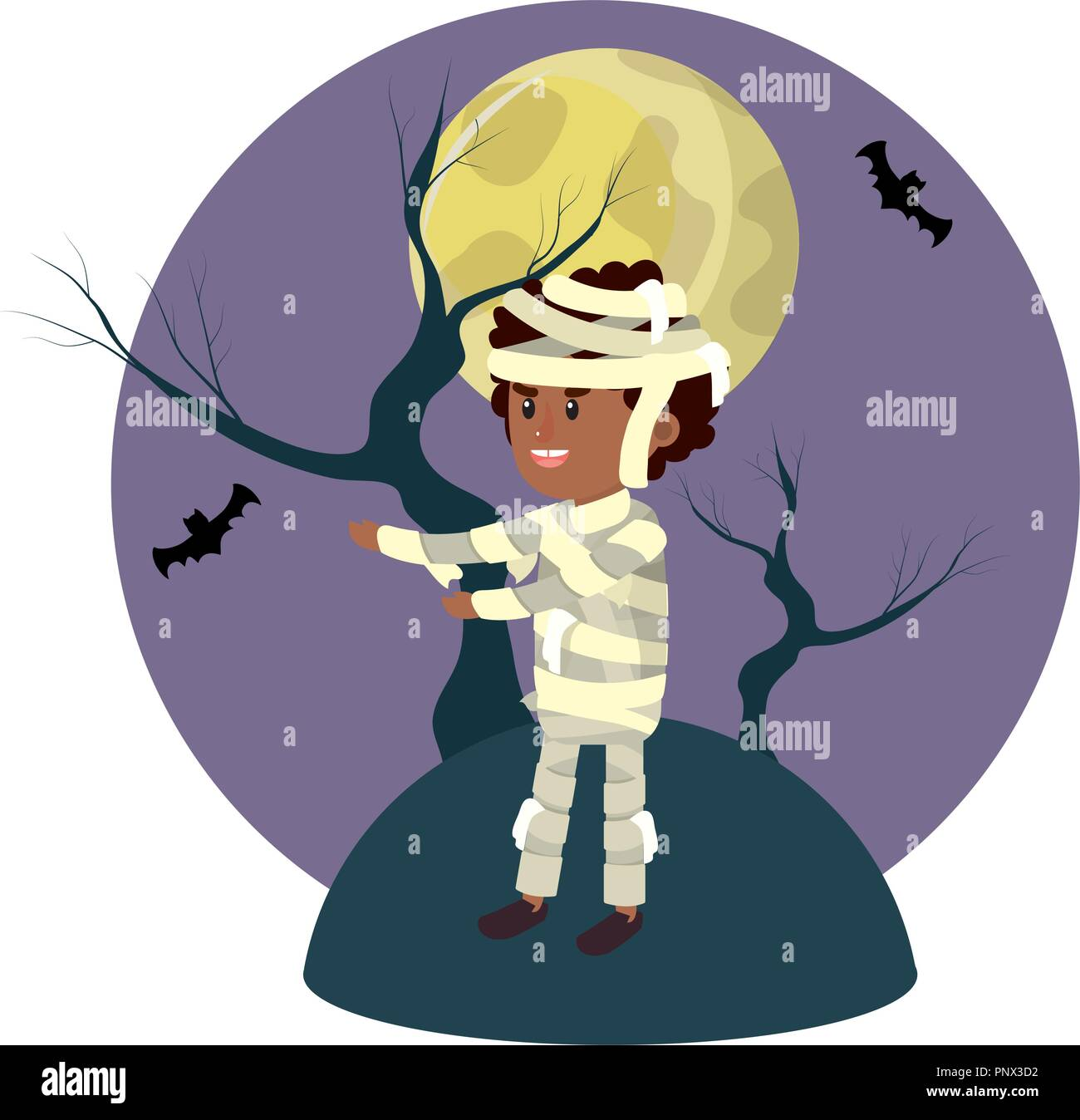 boy with mommy costume and full moon - Stock Image