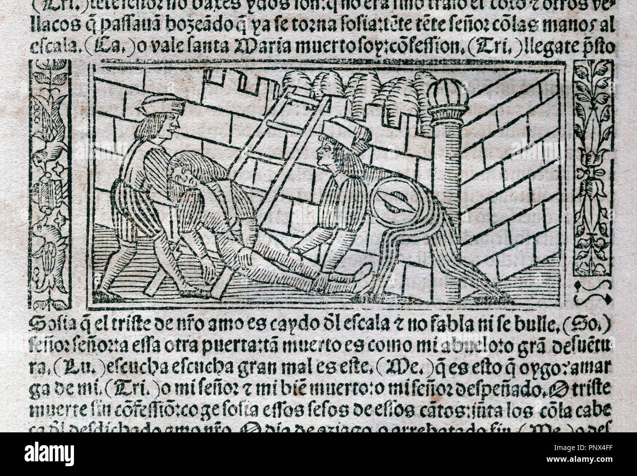 The Celestina or Tragicomedy of Calisto and Melibea (1499). By Fernando de Rojas (ca.1465-1541). Engraving depicting a scene of the work. Edition printed in Burgos, Spain, 1531. Library of Catalonia. Barcelona. Catalonia. Spain. - Stock Image
