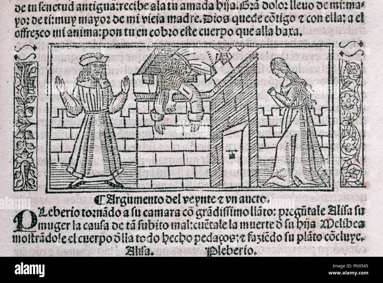 The Celestina or Tragicomedy of Calisto and Melibea (1499). By Fernando de Rojas (ca.1465-1541). Engraving depicting a start of act 21. Edition printed in Burgos, Spain, 1531. Library of Catalonia. Barcelona. Catalonia. Spain. - Stock Image