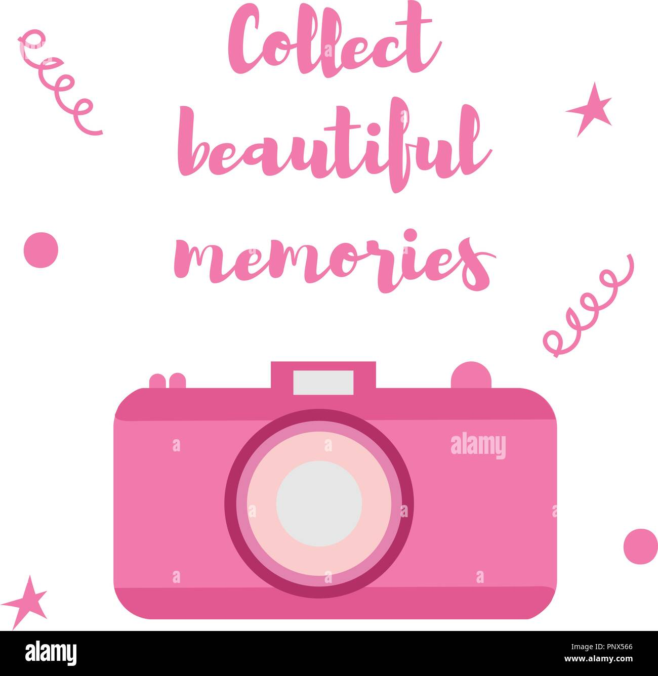 The old-fashioned color camera. Flat style. Inscription collect beautiful moments on a white background - Stock Vector