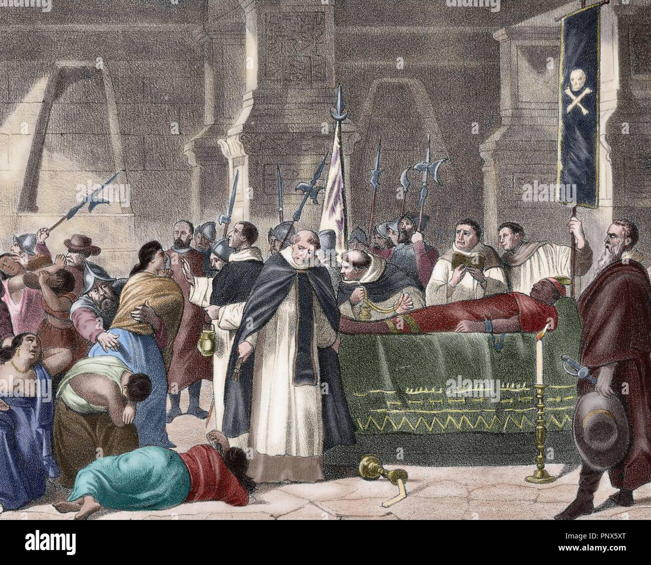 Atahualpa (1497-1533). Last Sapa Inca. Death of Atahualpa. Funeral. To the right of the picture, Francisco Pizarro dressed in mourning. Colored engraving. - Stock Image