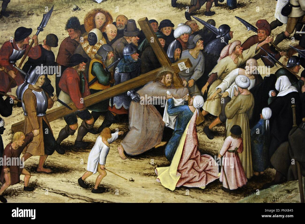 Pieter Brueghel the Younger (1564-1638). Flemish painter. The Procession to Calvary, 1602. Detail. National Museum of Art. Copenhagen. Denmark. Stock Photo
