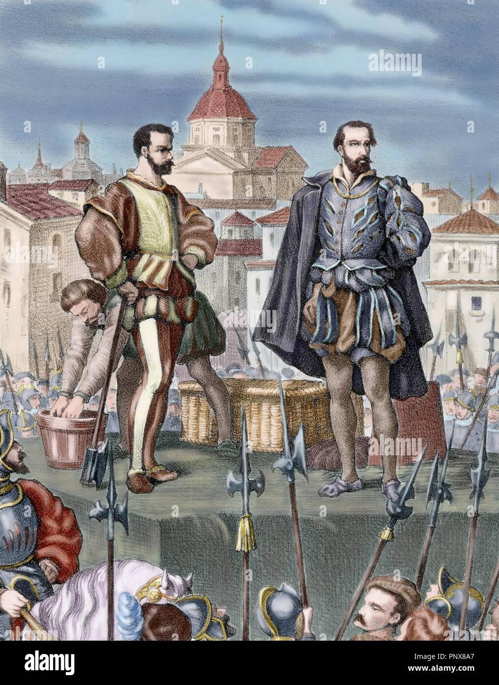 REINADO DE FELIPE II-ARAGON. Tras la revuelta de Zaragoza de 1591, Felipe II intervino y modificó la constitución política aragonesa y las Cortes. 'REPRESION DE LAS TROPAS CASTELLANAS: MUERTE DE DON JUAN DE LANUZA (1564-1591) POR DEFENDER A ANTONIO PEREZ'. Apresado junto al conde de Aranda y el duque de Villahermosa, fue decapitado el 20 de diciembre de 1591. Grabado coloreado. - Stock Image
