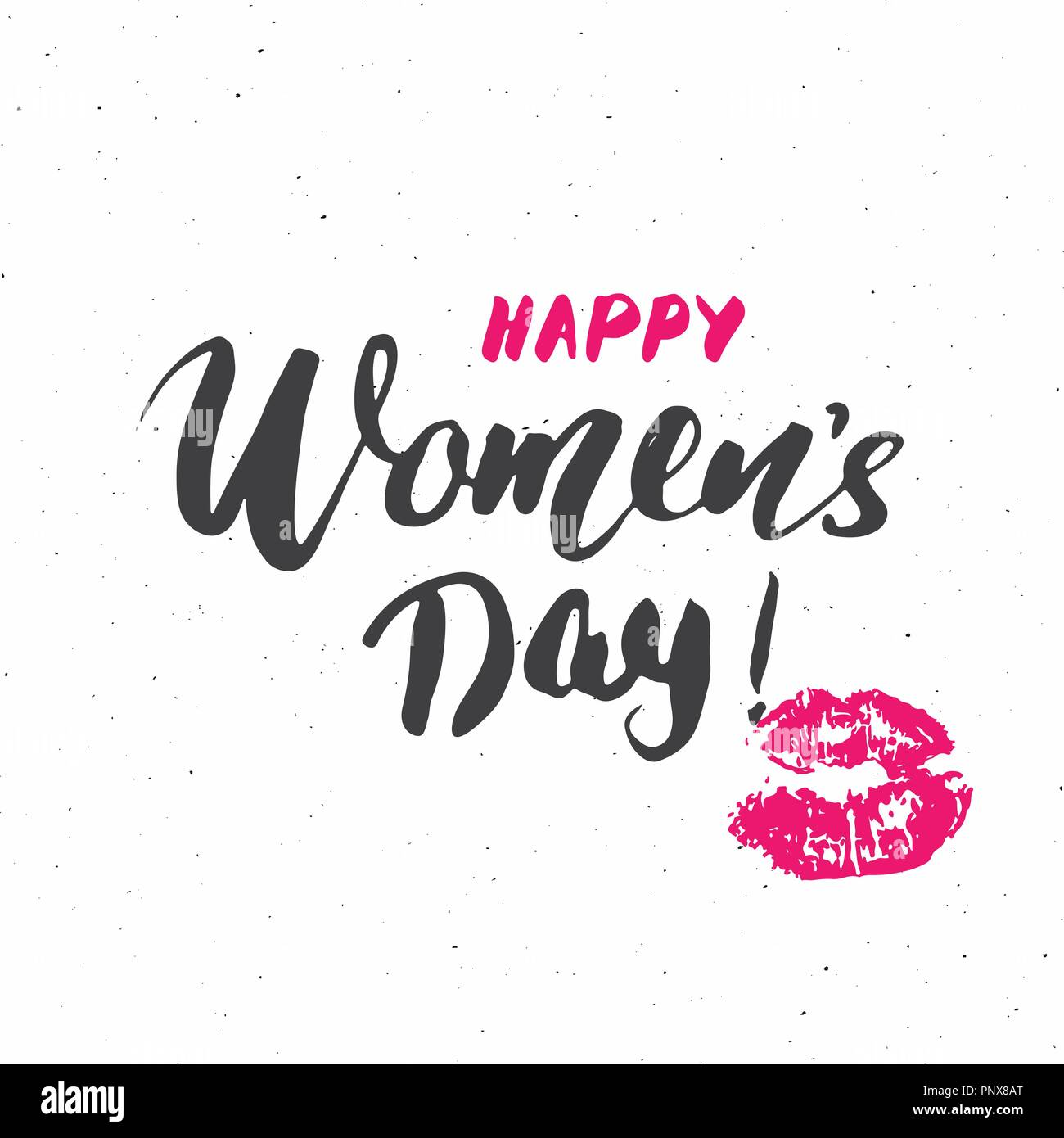 Happy Womens Day Hand Letterings Set Holiday Grunge Textured Retro