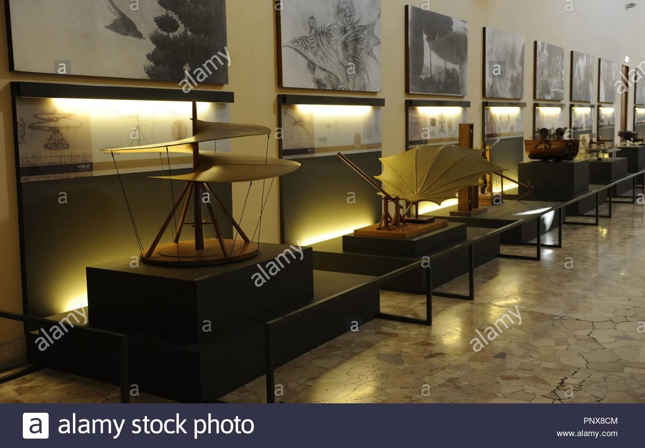 Leonardo Gallery. Models  (1950s)drawings by Leonardo da Vinci (15th century). The science and Technology Museum Leonardo da Vinci. Milan. Italy. - Stock Image