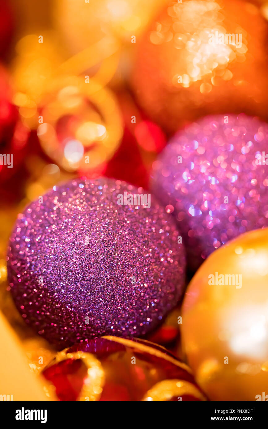close up of the colorful christmas decorations used to decorate the christmas tree in december