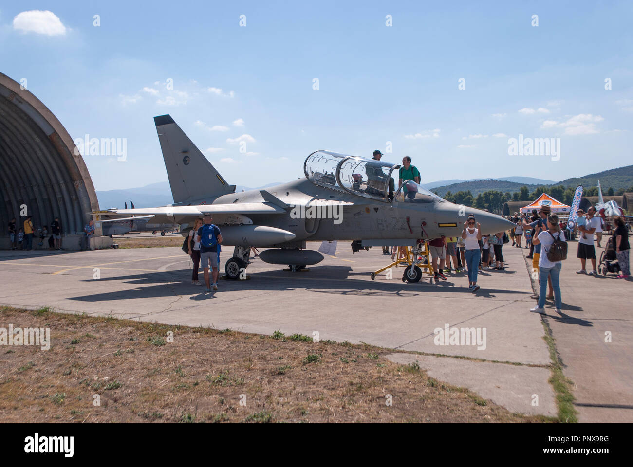 Tanagra, Greece. 22nd Sep, 2018. Alenia Aermacchi T-346A Italian Air Force Athens Flying Week 2018 at Tanagra Airfield Greece. Credit: Dimitrios Sotiriou/Pacific Press/Alamy Live News - Stock Image
