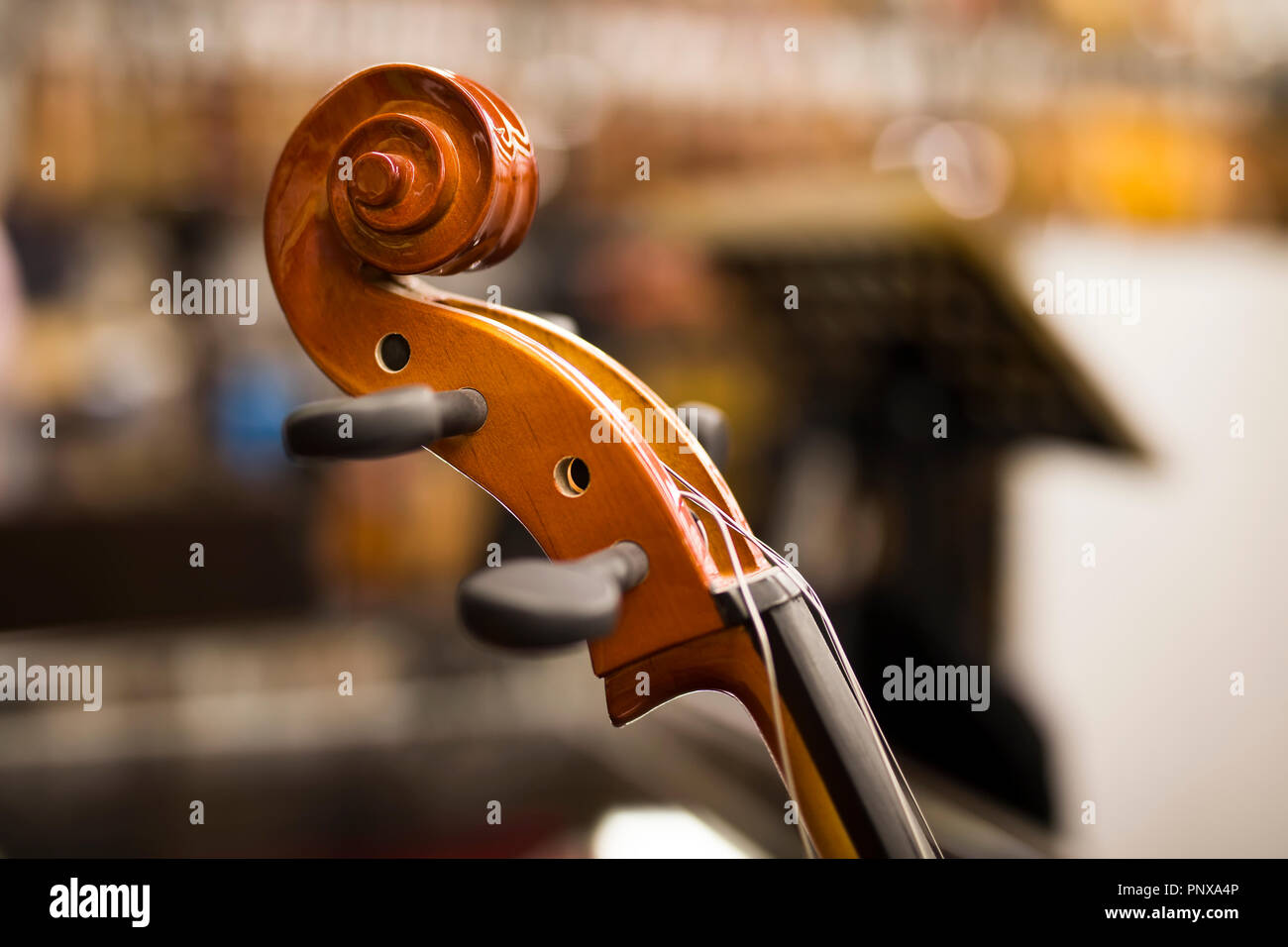 Closeup detail view at the upright bass Stock Photo