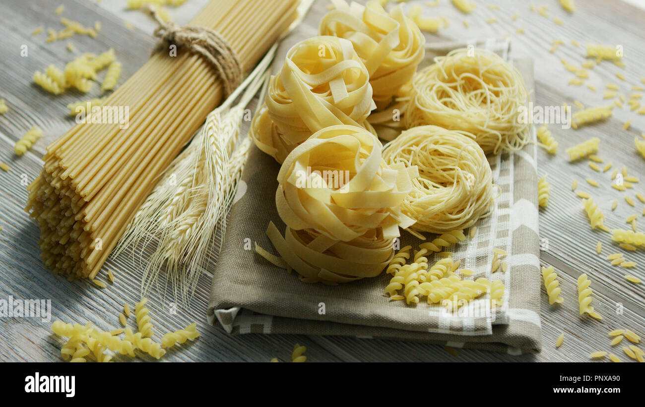 Uncooked pasta of different sort - Stock Image