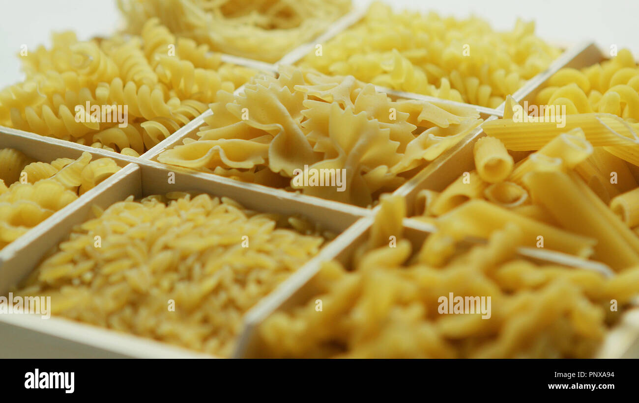 Container with pasta of different sort - Stock Image