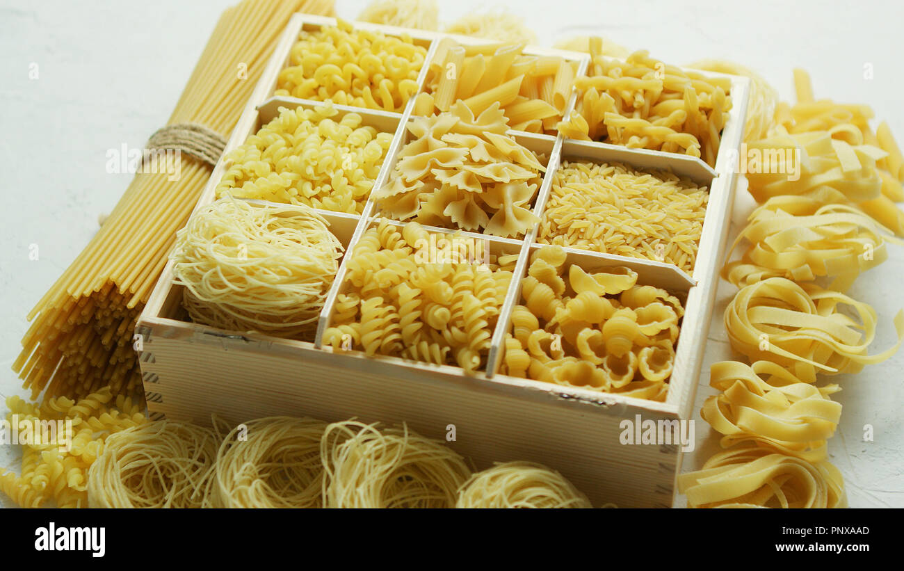 Box with great assortment of pasta - Stock Image