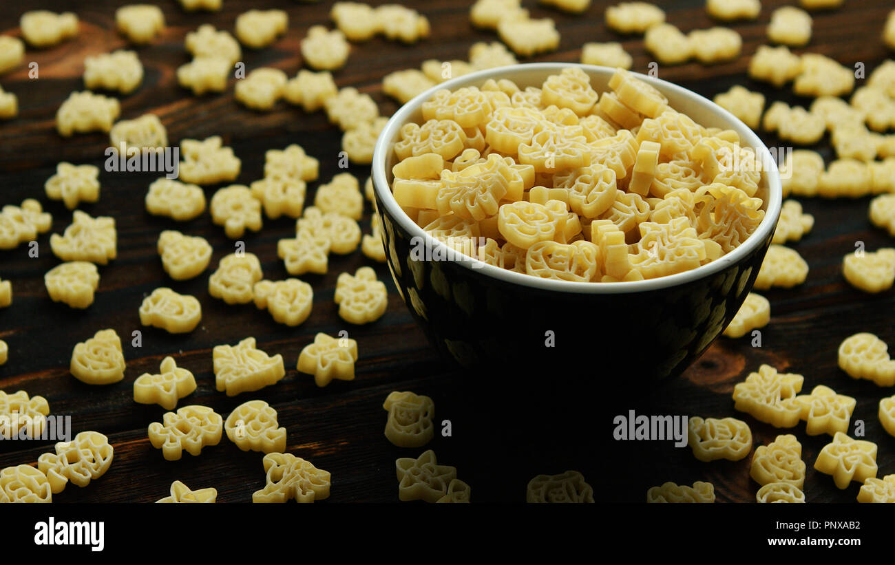 Bowl of creative small macaroni - Stock Image