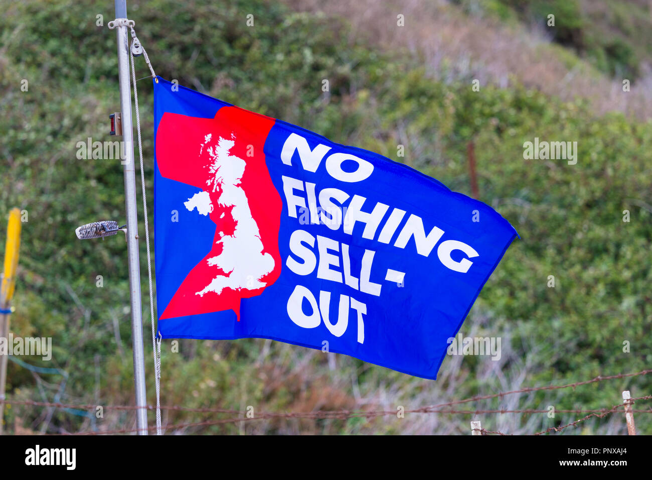 No fishing sell out flag, hastings, east sussex, uk - Stock Image