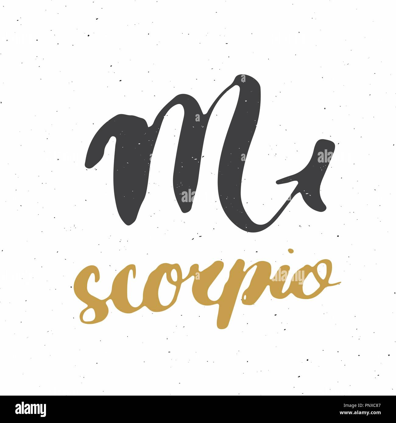 Zodiac sign Scorpio and lettering  Hand drawn horoscope