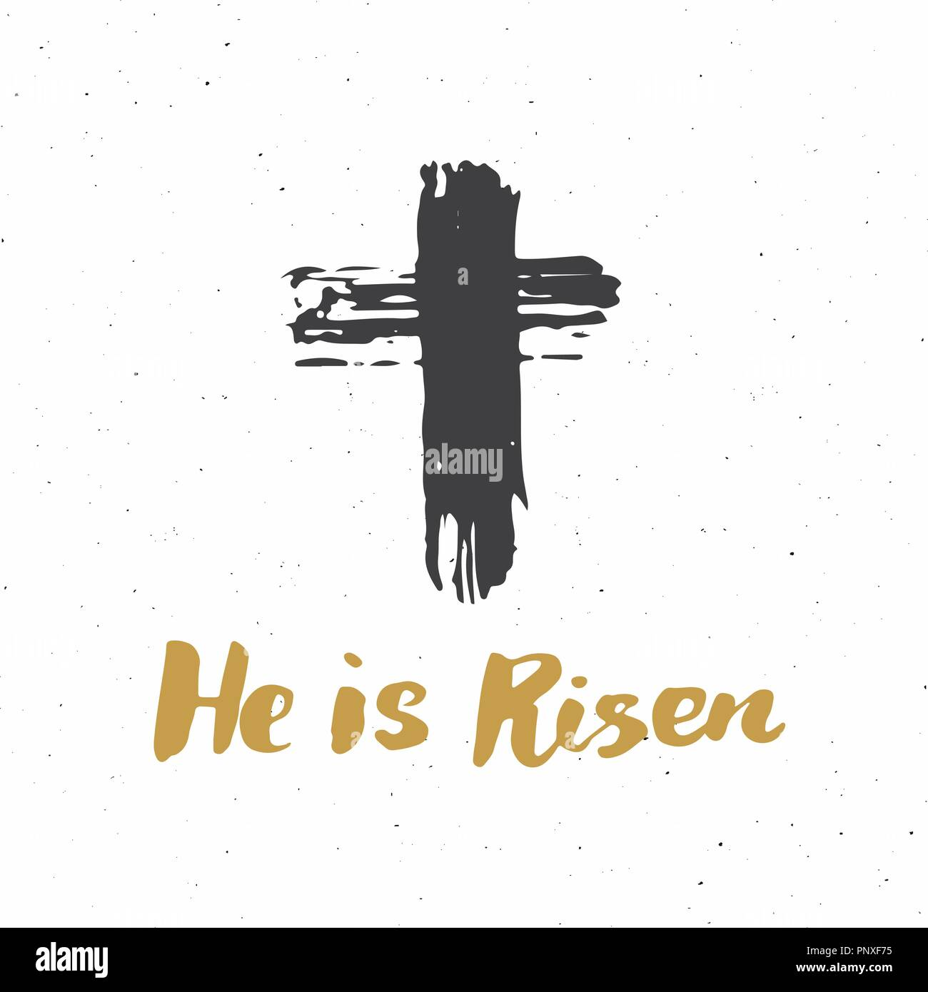 He Is Risen Lettering Religious Sign With Crucifix Symbol Hand