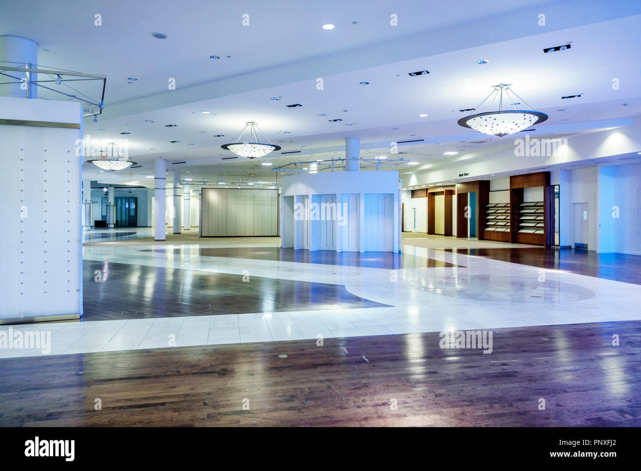 West Palm Beach Florida City Place CityPlace closed empty Macy's Department Store interior - Stock Image