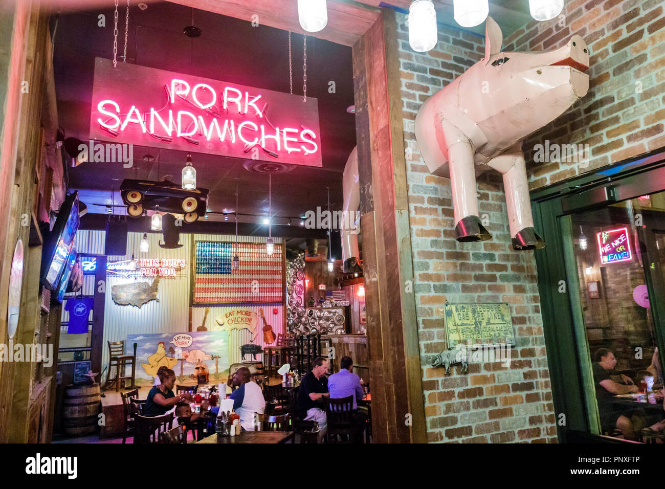 West Palm Beach Florida CityPlace Brother Jimmy's BBQ restaurant interior Americana - Stock Image