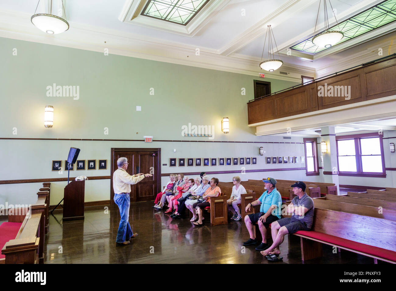 Florida West Palm Beach Palm Beach County History Museum 1916 County Court House Historic Inside Interior Adult Adults Man Men Male Speaking Li Stock Photo Alamy