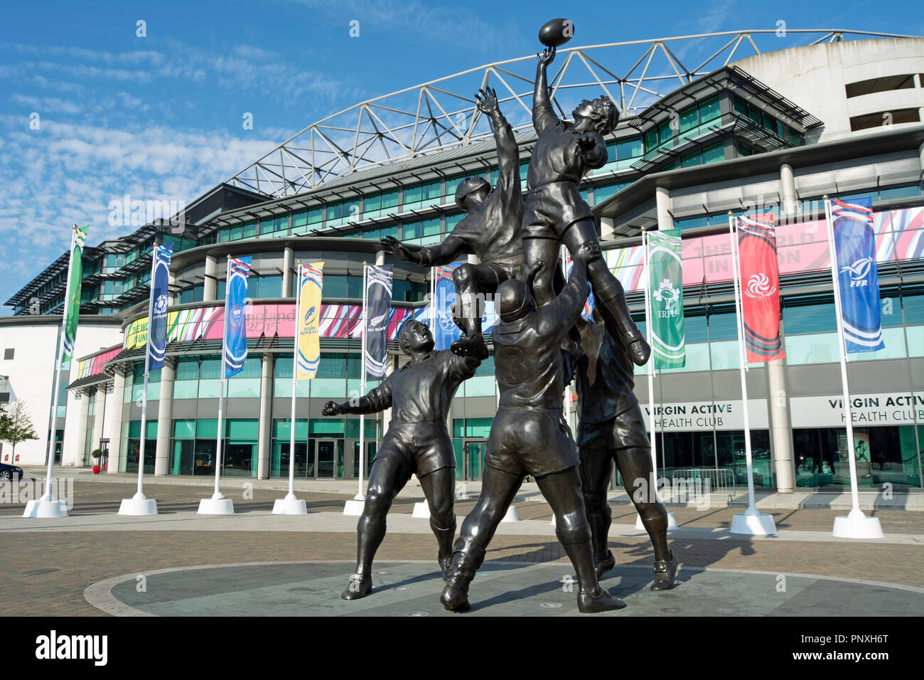 gerald laing's bronze sculpture, depicting a rugby lineout, outside twickenham rugby stadium, twickenham, middlesex, england - Stock Image