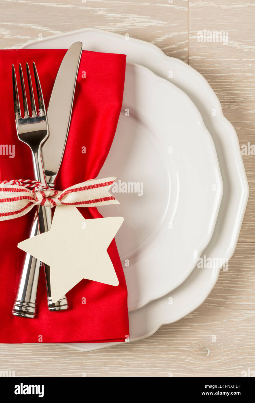 Festive Christmas Table Setting Place Setting With White China
