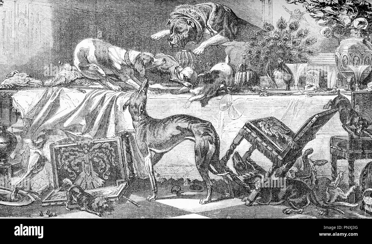 Dog team party on a dining table plenty of enough goodies to fill them up, and turning the room upside down, vintage engraving - Stock Image