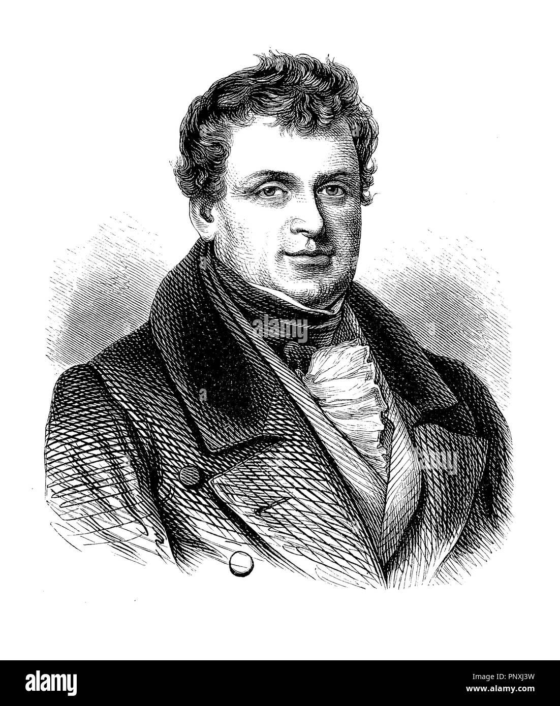 Engraving portrait of Daniel O'Connell (1775-1847), Irish political leader of the Catholic emancipation - Stock Image