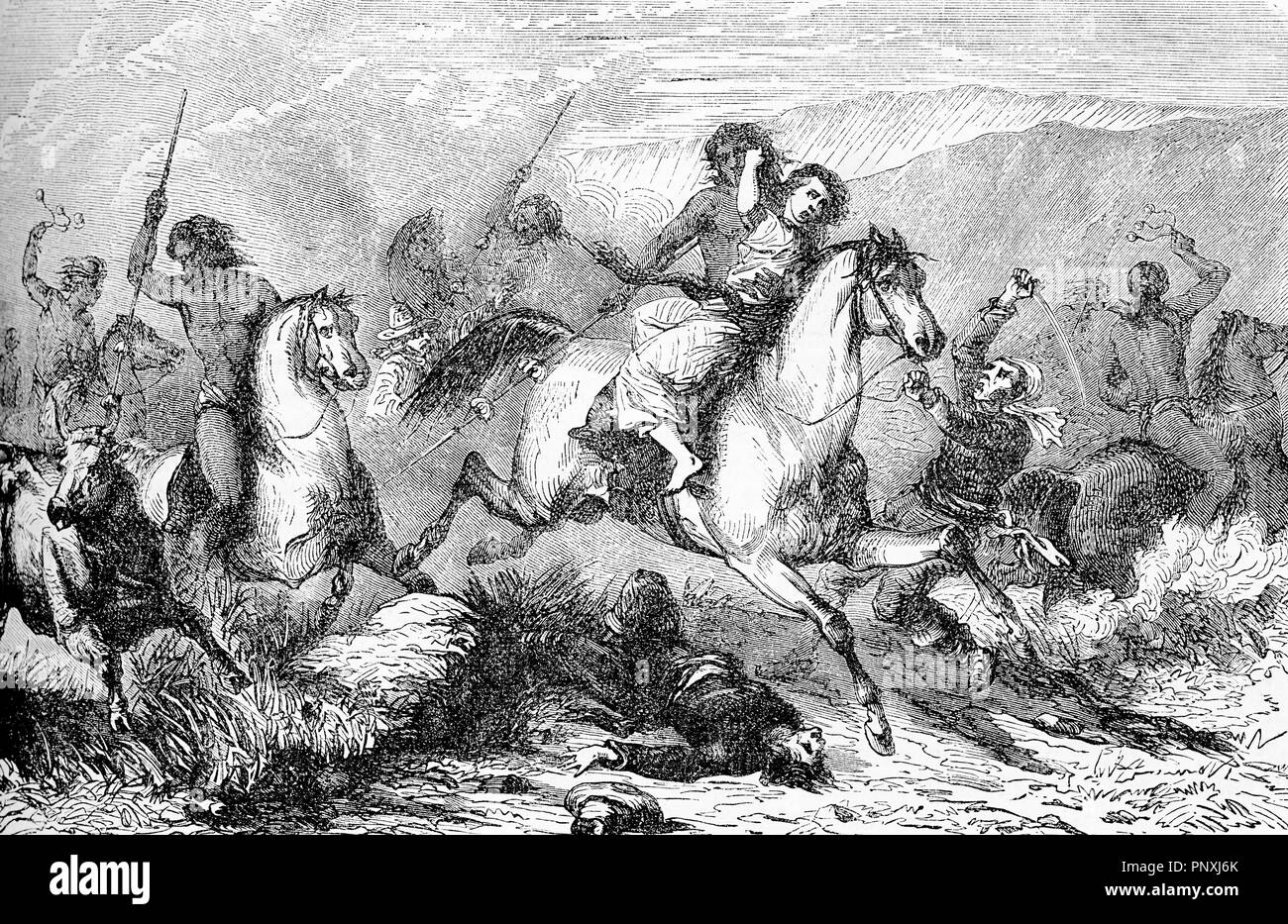 South America horseback  indigenous brutally attack people with lances und bolas, stealing women and cattle, vintage engraving - Stock Image