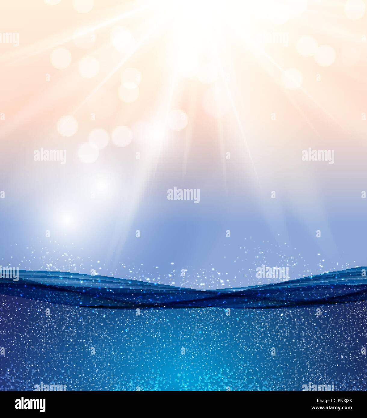 Abstract Blue Underwater Ocean Wave Background Vector