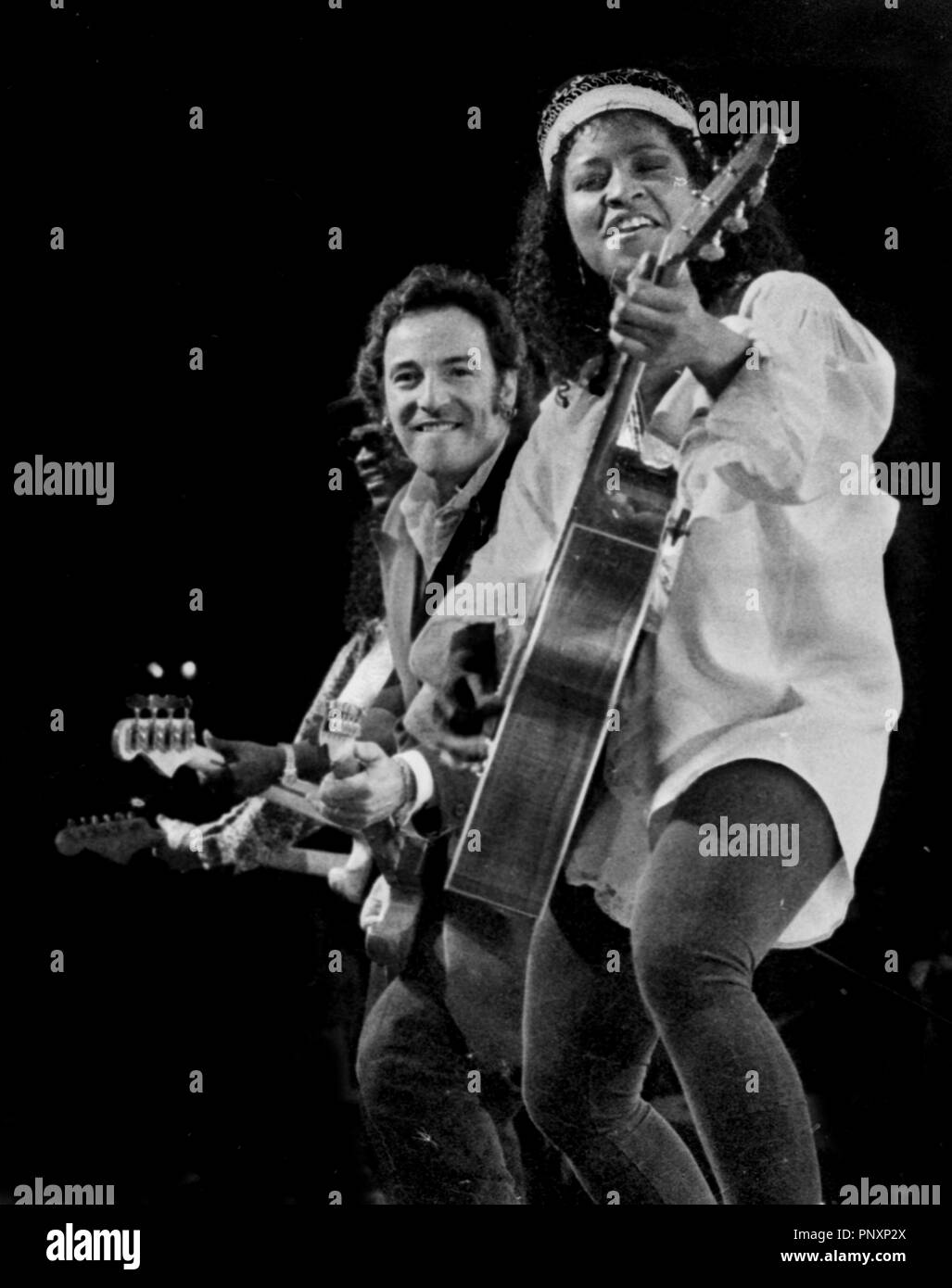 Crystal Taliefero and Bruce Springsteen performing at the Centrum in Worcester Ma August 13 1992 - Stock Image