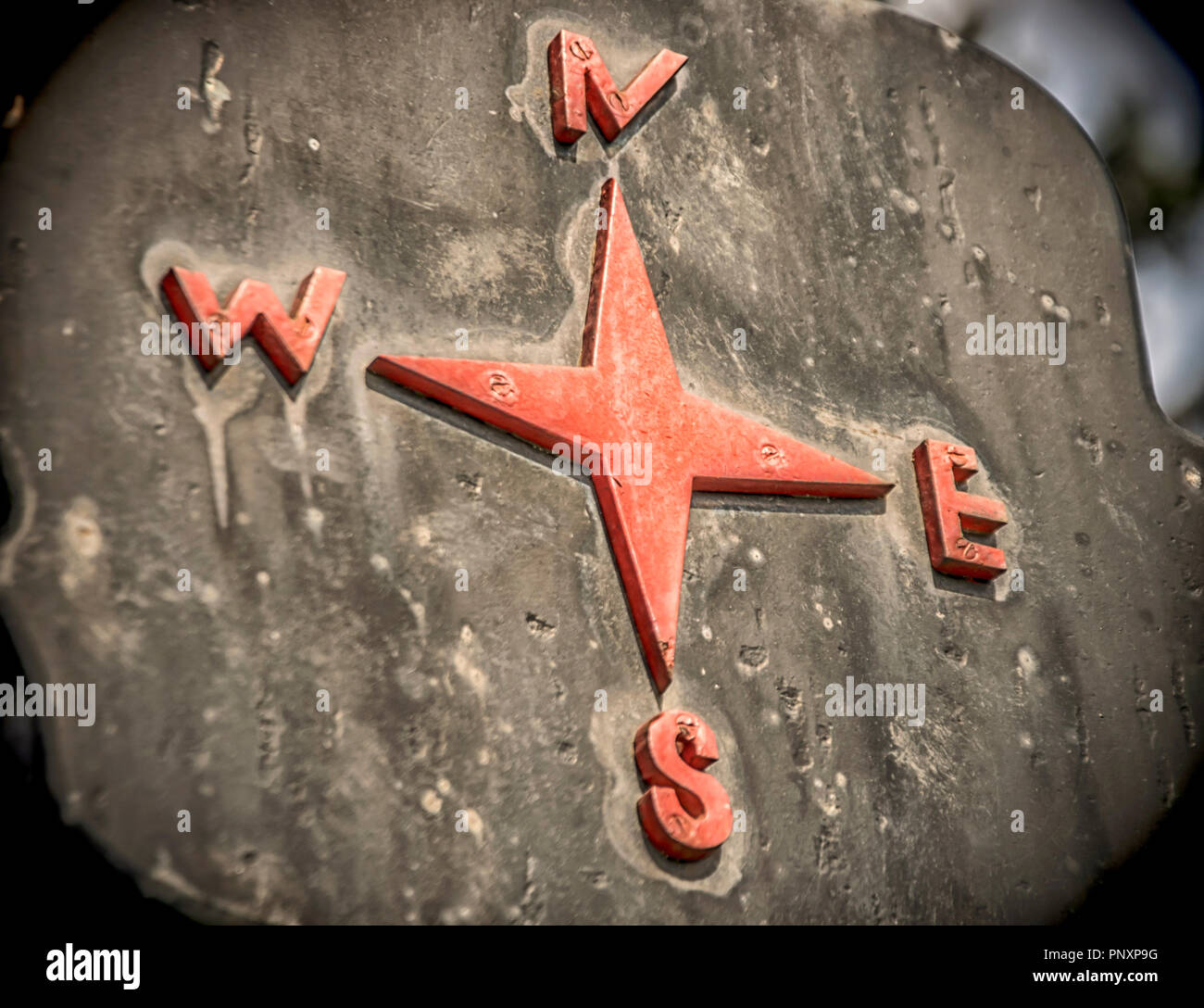 A sign showing cardinal points in red Stock Photo