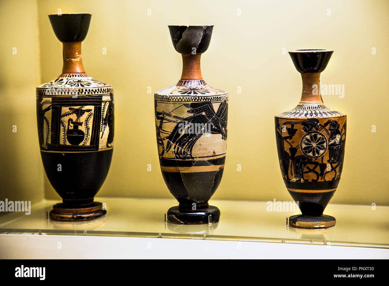 Ancient greek vase exposed in a museum, Greece. - Stock Image