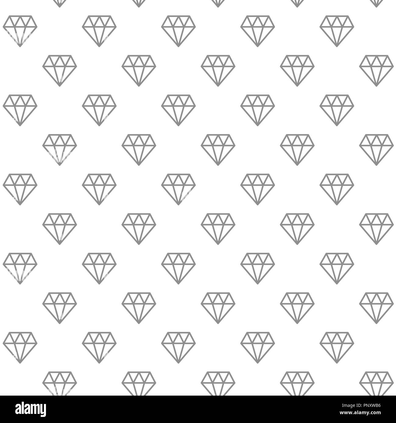 Unique digital diamonds seamless pattern with various icons and symbols on white background flat illustration - Stock Image