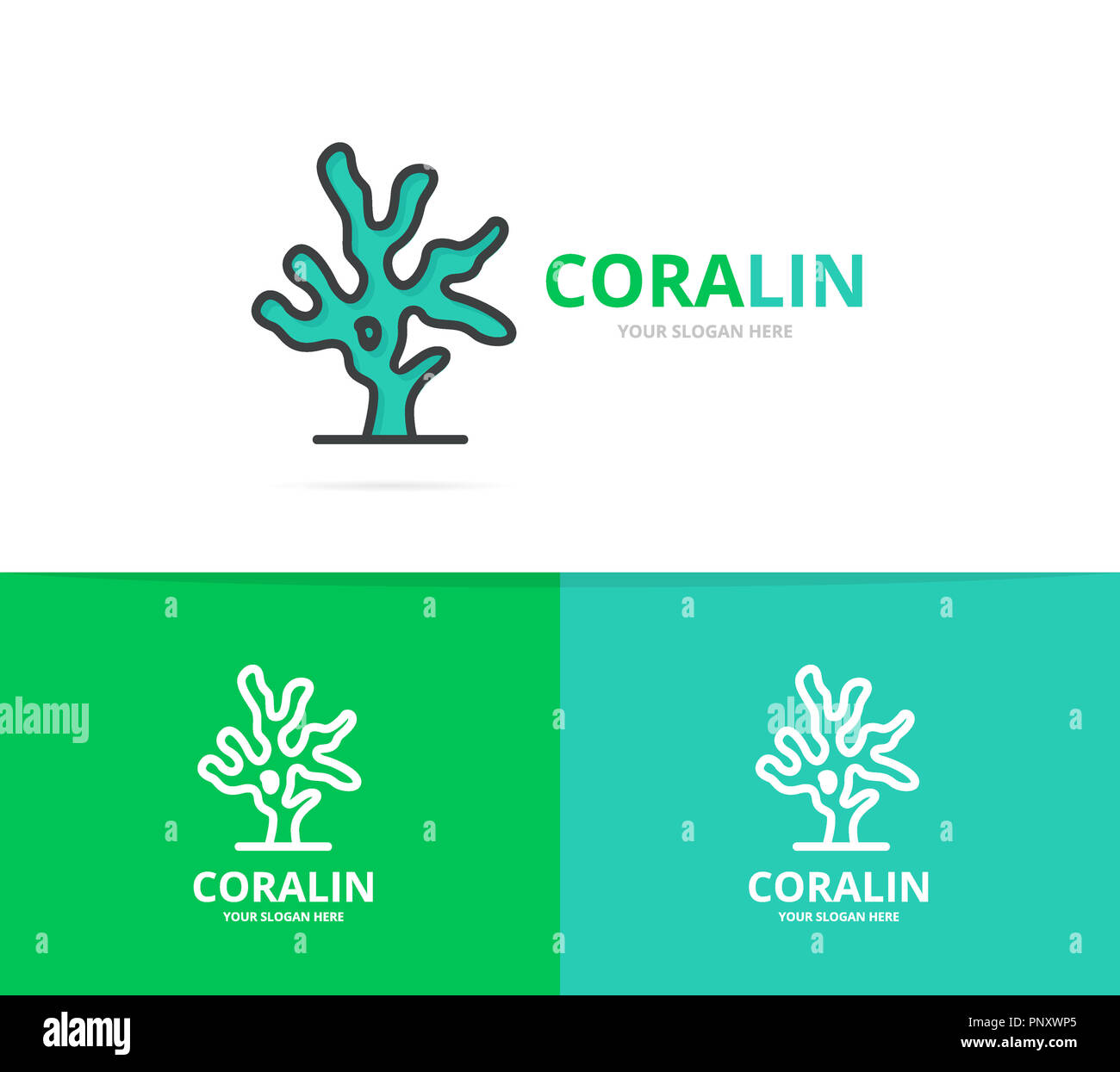 coral logo unique reef and seafood logotype design template stock