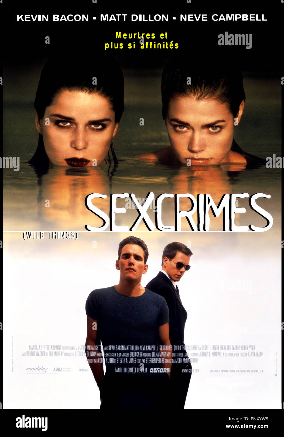 Prod DB © Mandalay / DR SEXCRIMES (WILD THINGS) de John Mc Naughton 1998 USA avec Neve Campbell, Denise Richards, Matt Dillon et Kevin Bacon affiches - Stock Image