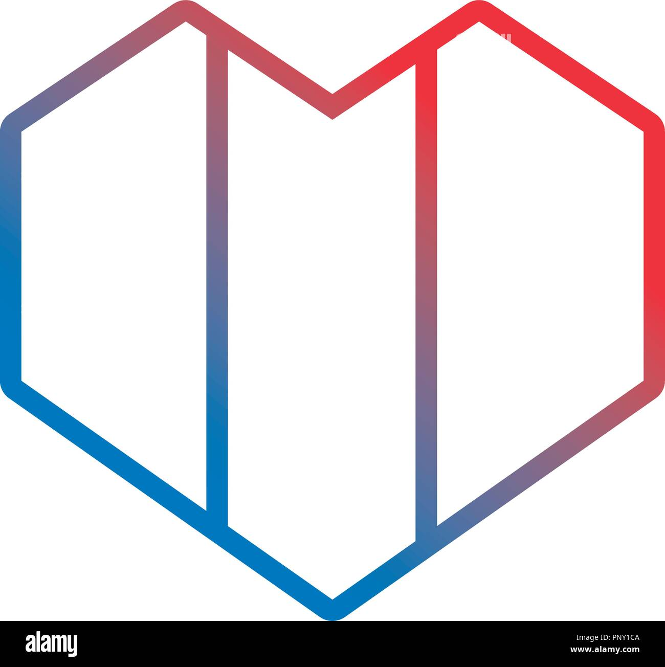 french flag heart geometric symbol vector illustration neon - Stock Image